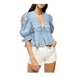 Free People Tallulah Embroidered Cotton Blouse XS